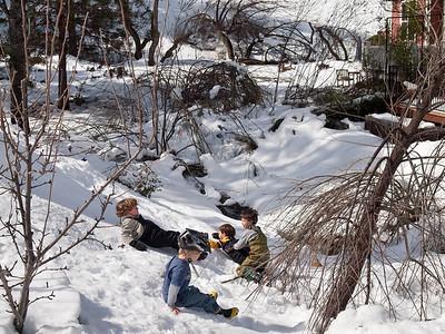 Kids and Deborah in snow, Mar. 1, 2011