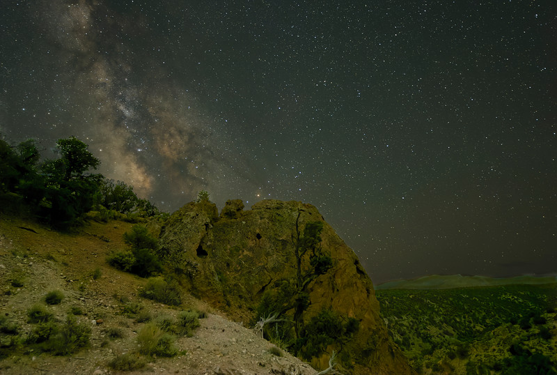 Milky Way Shines Over Rock Formation Overlooking Hidden Canyon