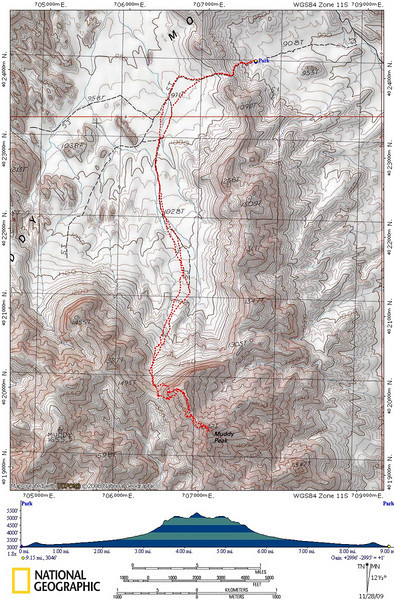 GPS track of my route to and from Muddy Peak with an elevation profile.