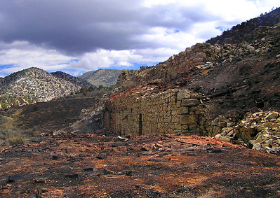 Remains of the Eberhardt Mill after a wildfire burned through the area in 2007.