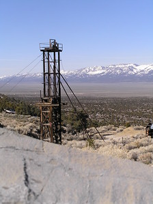 Taylor shaft head frame, Schell Creek Range, NV. Across the valley is the snowy Egan Range