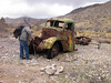 Vestigial old car on hike into Virgin Mts from south