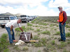 July 10 afternoon, we meet our BLM service trip group; Wilderness Ranger John Miller sets up project sign