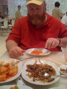 Bob eating at Beijing Noodle #9 in Caesar's Palace.