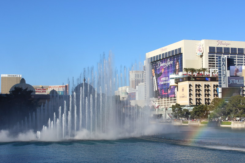 Bellagio Fountain and Flamingo Hotel and Casino