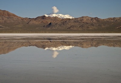 Bonneville Salt Flats.  Snow covered Pilot Peak is behind the Silver Island Mountains.