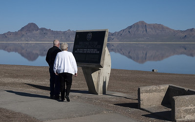 Dad and Donna at the Bonneville Salt Flats.  The Silver Island Mountain Range is in the background.  The salt flats were formed as the ancient lake Bonneville which was once 1,050 feet deep, 145 miles wide and 346 miles long retreated to what is now the Great Salt Lake.