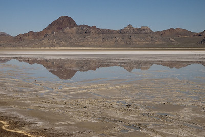 Bonneville Salt Flats.  Silver Island Mountains in the background.