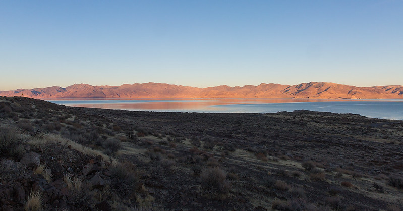 Last Light Shining on Pyramid Lake