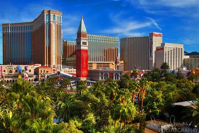 View of Venetian and Harrah's Hotel and Casinos in Las Vegas