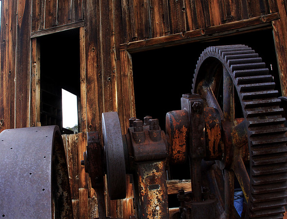 Mining machinery at Berlin ghost town, NV