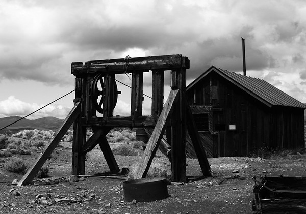 Hoist for a decline abandoned mine. hisis located at Berlin in a state park near Ione,NV