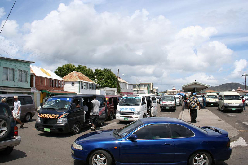 Bustling St. Kitts street.  One cruise ship was parked at the dock.