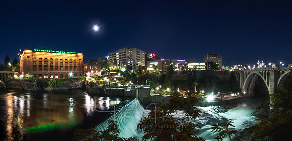 Full Moon over Downtown Spokane