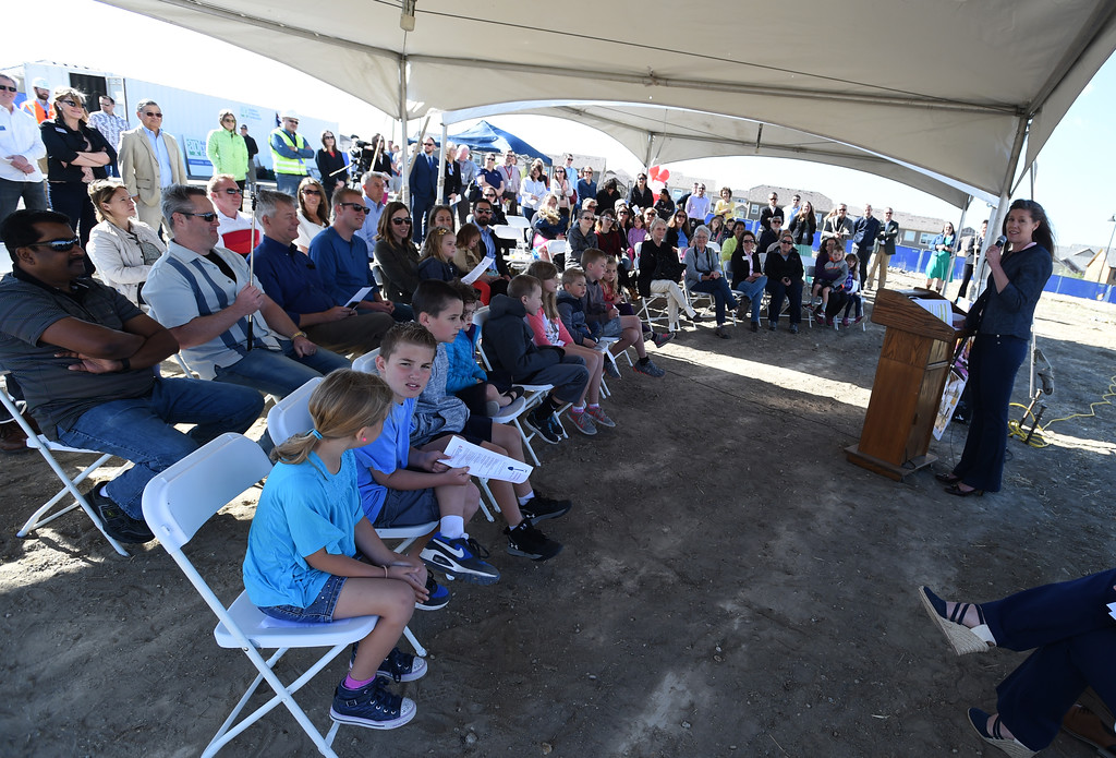 . The crowd during the Anthem P-8 school groundbreaking in Broomfield on Wednesday. For more photos, go to www.dailycamera.com. Cliff Grassmick  Staff Photographer April 19, 2017