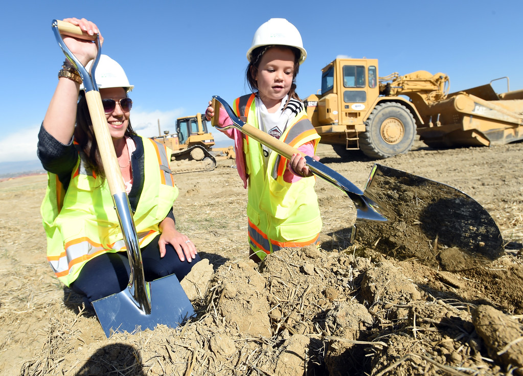 . The new school principal, Teresa Benallo, left, gets to know potential student, Gianna Dorma,  during the Anthem P-8 school groundbreaking in Broomfield on Wednesday. For more photos, go to www.dailycamera.com. Cliff Grassmick  Staff Photographer April 19, 2017