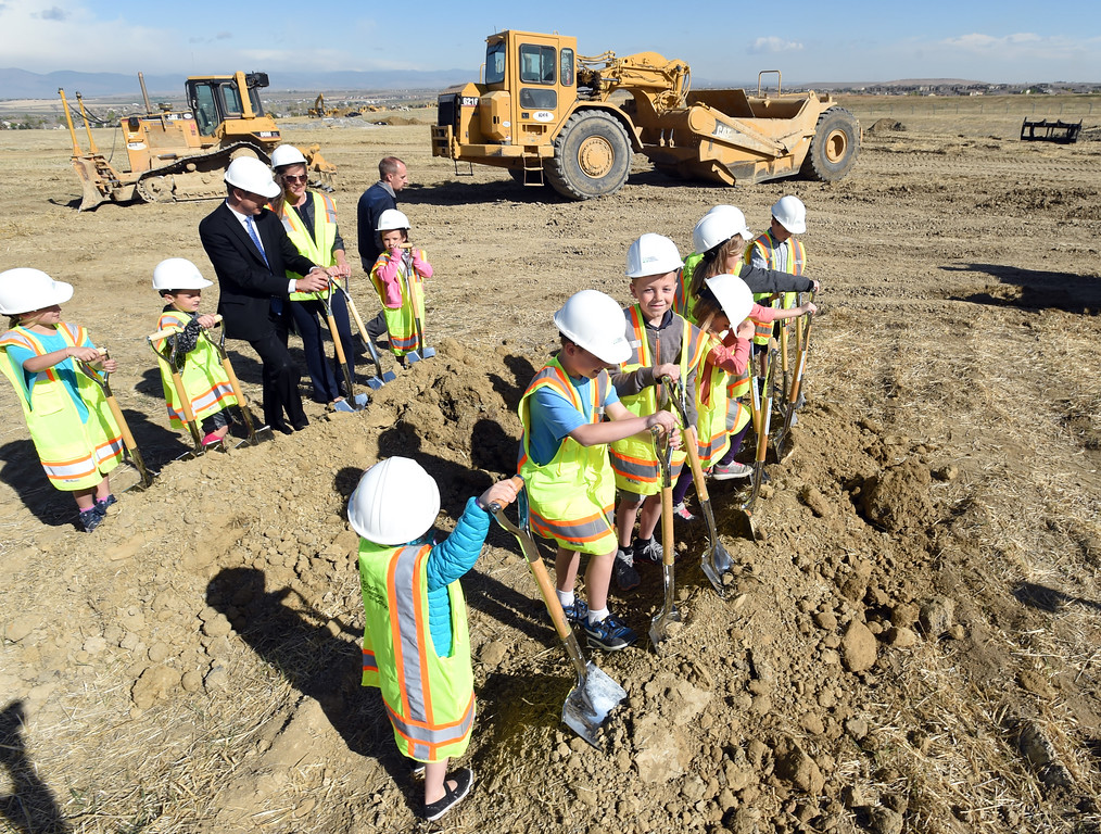 . VIP\'s prepare to dig during the Anthem P-8 school groundbreaking in Broomfield on Wednesday. For more photos, go to www.dailycamera.com. Cliff Grassmick  Staff Photographer April 19, 2017