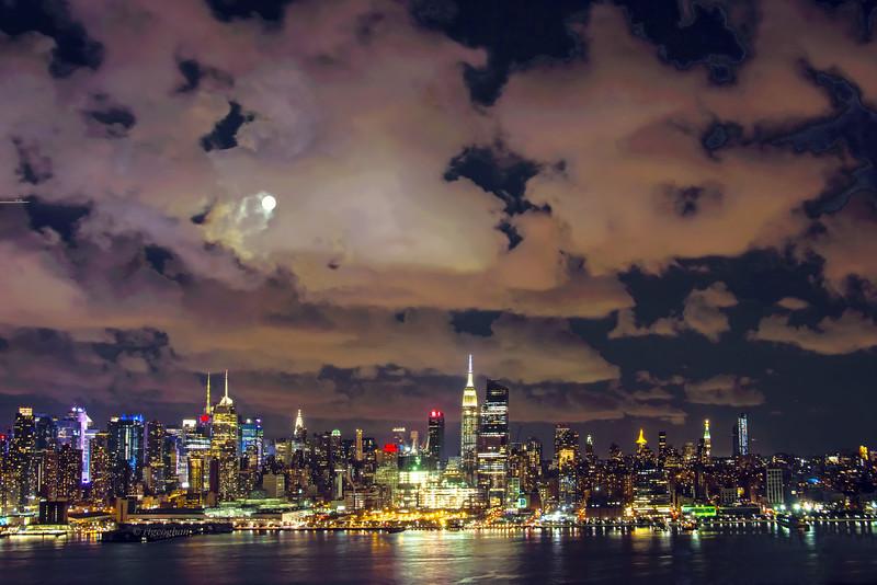 New York Skyline Night Clouds
