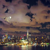 New York Skyline Night Clouds