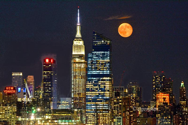 Full Buck Moon over Manhattan