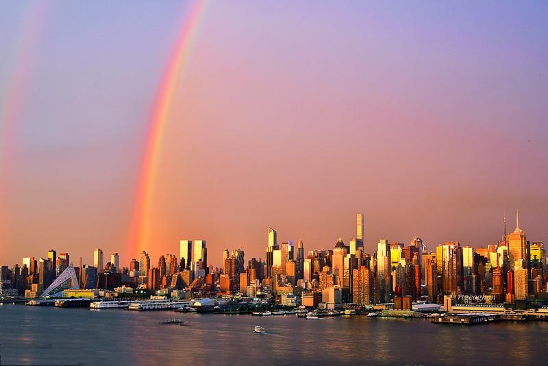 NYC Sundown Rainbow Cityscape