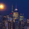 NYC Skyscrapers and Harvest Moonrise