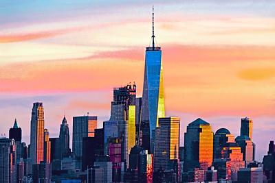 Lower Manhattan Skyscrapers at Sundown