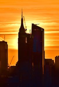 NYC Sunrise Skyscraper Silhouette