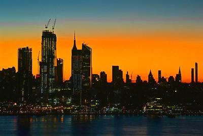 NYC Dawn Skies in Orange and Teal
