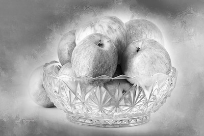 Bowl of Apples in Black and White
