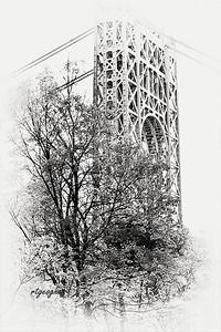 GW Bridge Tower and Trees Monochrome