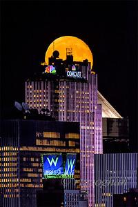 NYC Moonrise over Rickefeller Center