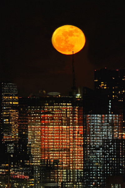 January Wolf Moon and NY Skyscrapers