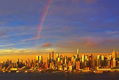 NYC and a sundown Rainbow
