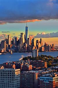 NY-NJ Sundown Layers in Blue and Gold