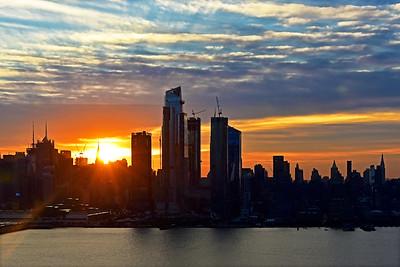 NY Skyline Sun's up in Blue and Orange