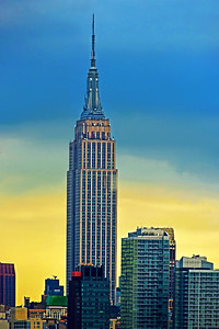 Empire State Building Blue and Gold Sundown