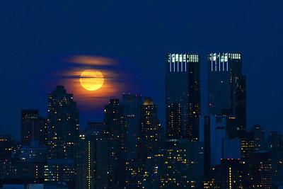 NYC Snow Moon Rising