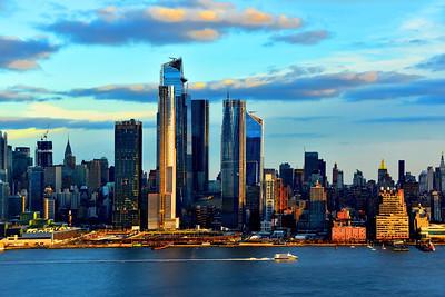 Manhattan Skyline Golden-edged  Blue Hour