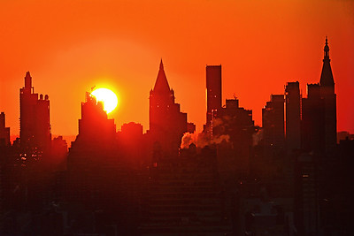 NYC Towers and Sunrise in Orange
