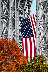 GW Bridge American Flag and Autumn Foliage