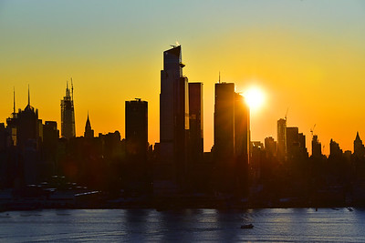NYC November Sunrise in Blue and Gold