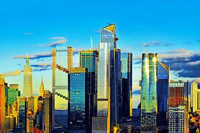 Manhattan Hudson Yards Sundown Blues and  Golds