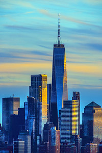 Freedom Tower Blue and Gold at Sundown