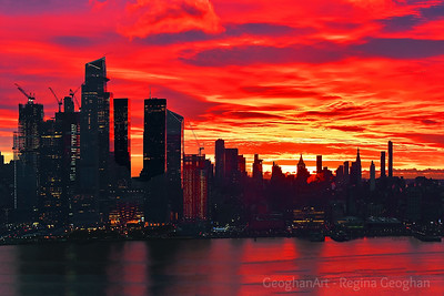 Red Sunrise Skies over Manhattan