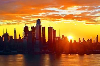 NYC Sunrise in  Gold and Orange