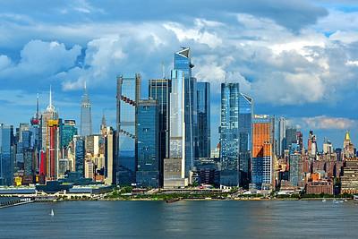 New York Skyline Summer Afternoon Clouds