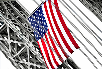 USA Flag Flying High from GW Bridge
