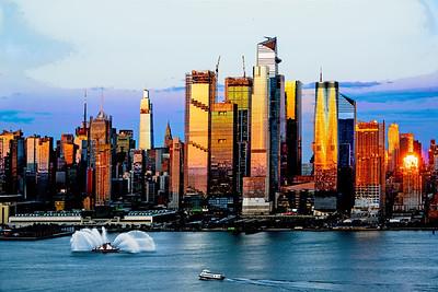 NYC at Sundown with Fireboat Display