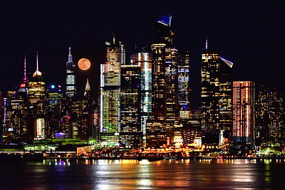 NYC Skyline Moonrise and Reflections